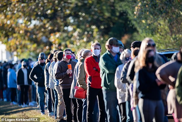 Lafayette County, Mississippi: Citizens of Lafayette County, Mississippi wait in long lines at the polls early in the morning to cast their 2020 Election vote