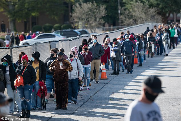 Greenville, South Carolina: People wait in line to participate in early voting on October 31