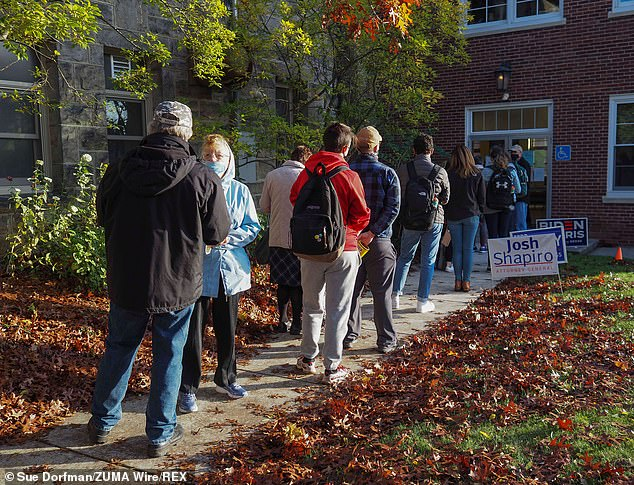 Huntingdon, Pennsylvania: Long lines await early morning Pennsylvania voters at the Juanita College polling site