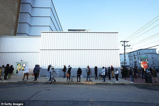 Portland, Maine: People wait in line to vote on November 03. After a record-breaking early voting turnout, Americans head to the polls on the last day to cast their vote for incumbent U.S. President Donald Trump or Democratic nominee Joe Biden in the 2020 presidential election