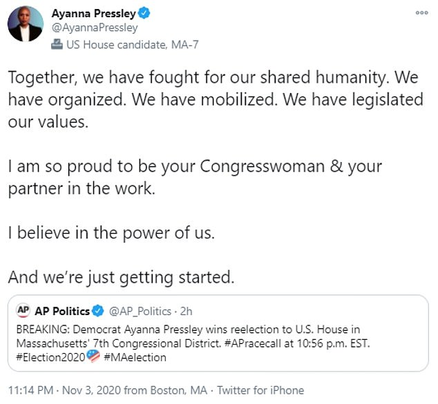 Pressley tweeted: 'Together, we have fought for our shared humanity. We have organized. We have mobilized. We have legislated our values'