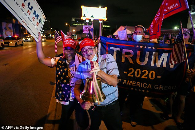 Supporters of President Trump rally in front of Cuban restaurant Versailles in Miami after the president was declared winner of the state early Wednesday