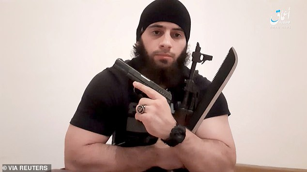 Kujtim Fejzulai, 20, posted the photograph on his Instagram account showing him holding the three weapons he would use in the attack and pledging his allegiance to ISIS leader Abu Ibrahim al-Hashimi al-Qurashi. Austrian officials said Fejzulai travelled to Slovakia to try to buy ammunition
