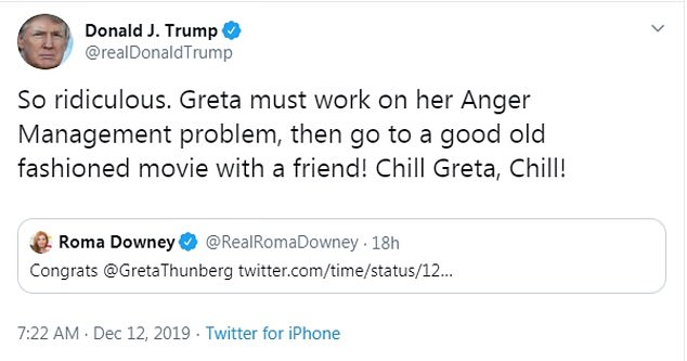 After she was named Person Of The Year by Time Magazine, President Trump said Thunberg needed to 'chill' and 'work on her anger management problem'