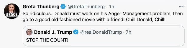 The 17-year-old mimicked a tweet the President had directed at her last year and told him to 'chill' and 'work on his anger management problem'