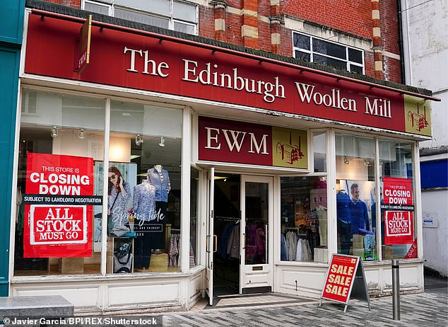 The closing down sale for The Edinburgh Woollen Mill store in Kingston-Upon-Thames