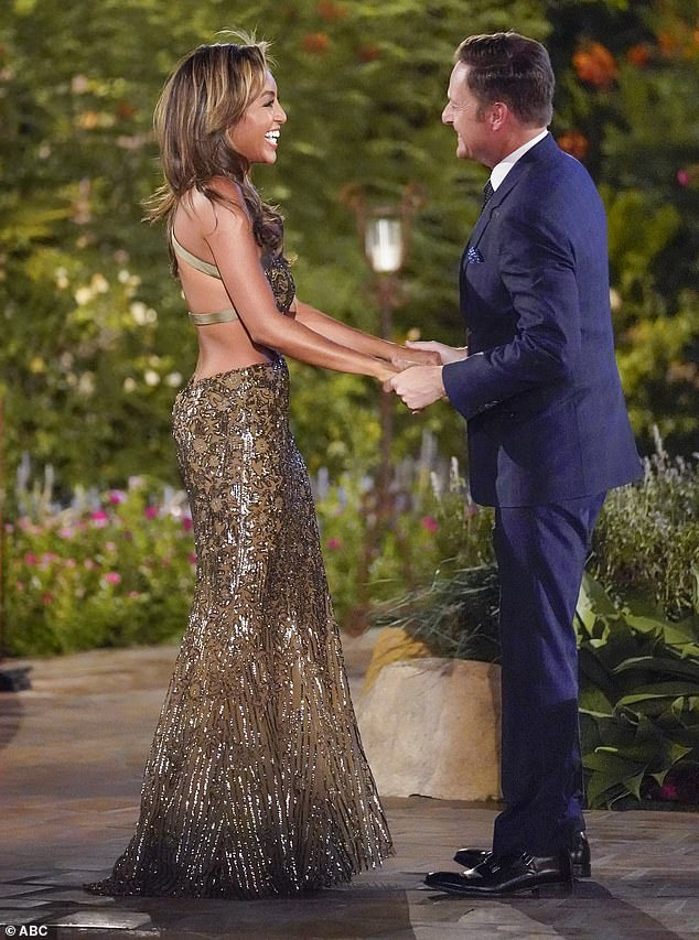 Gorgeous gown: Tayshia Adams looked amazing in a gorgeous long gown