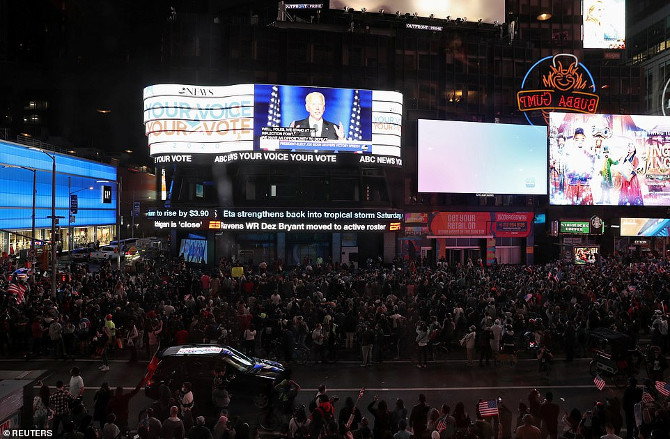 NEW YORK CITY: Crowds gather in Times Square to watch Democratic presidential nominee Joe Biden deliver his victory speech after media announced he won the 2020 US presidential election