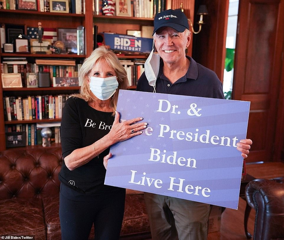 Jill Biden tweeted this photograph on Saturday afternoon, around two hours after the election was called for her husband. The pair were at home in Wilmington, Delaware. President-elect Biden will speak tonight at 8pm EST
