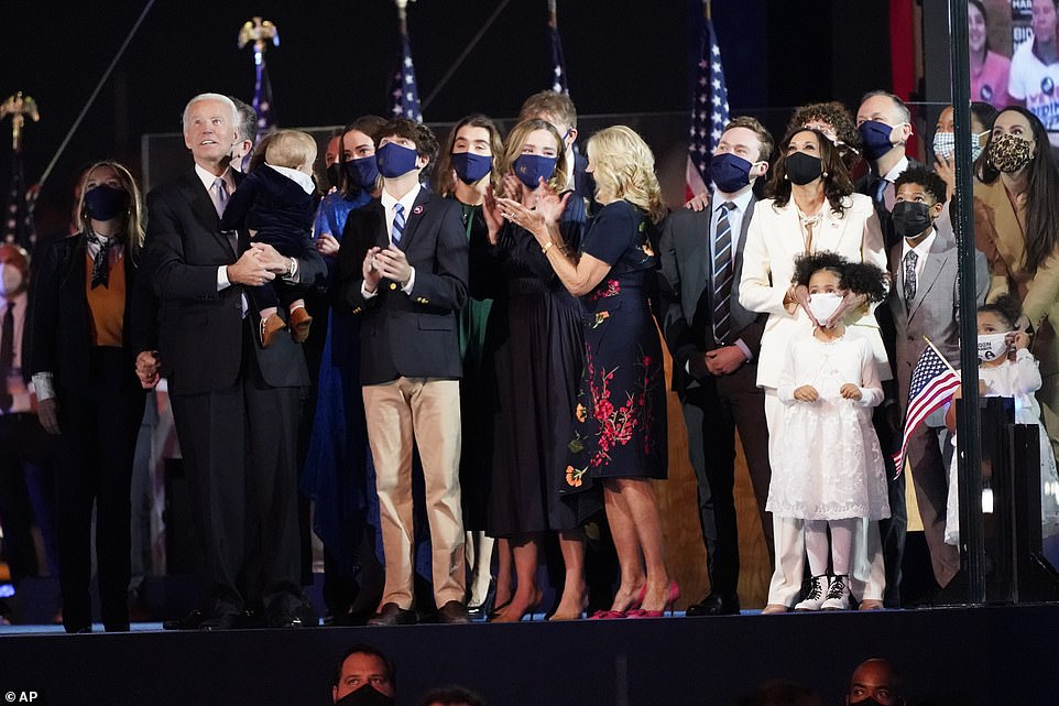 The two families, wearing face masks, waved to the cheering and honking crowd of supporters. Only Biden removed his mask