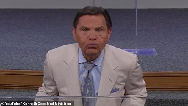In April, the televangelist appears to blow a raspberry at the illness in the belief it would magically disappear altogether
