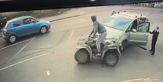 He then returns to his vehicle,performs a three point turn and flees the scene