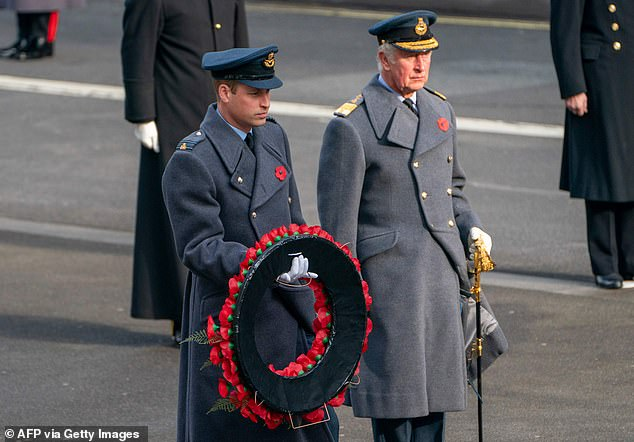 Pictured are Prince William and Prince Charles laying a poppy wreath at the Cenotaph on Sunday