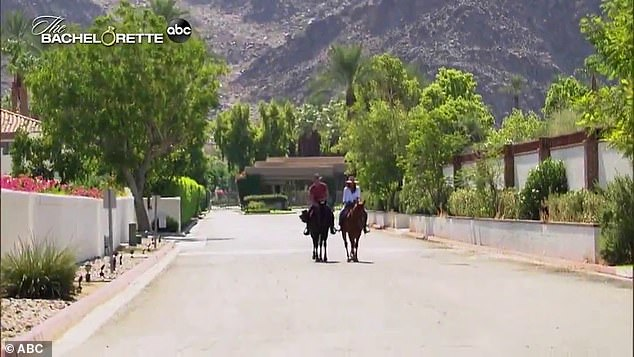 Giddy up! Adams enjoyed a horseback ride through the resort with one of her contestants