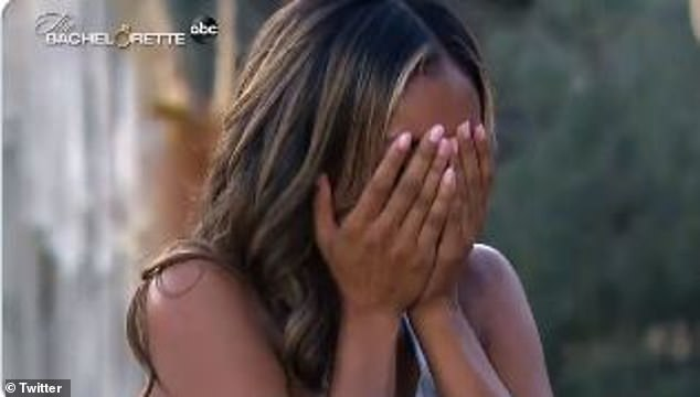 There will be tears: Adams covered her face as she broke down into tears
