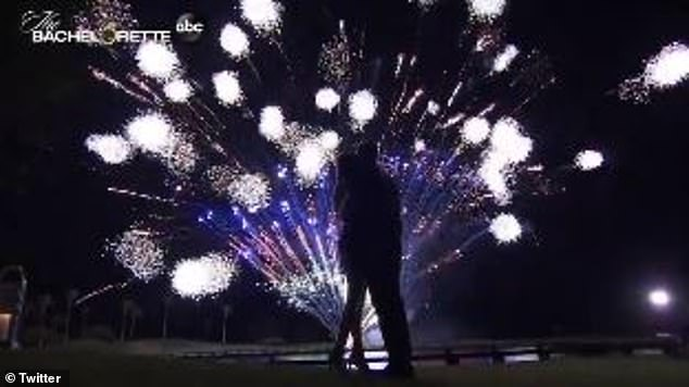 There's a spark! Adams watched a fantastic fireworks display with one of her suitors