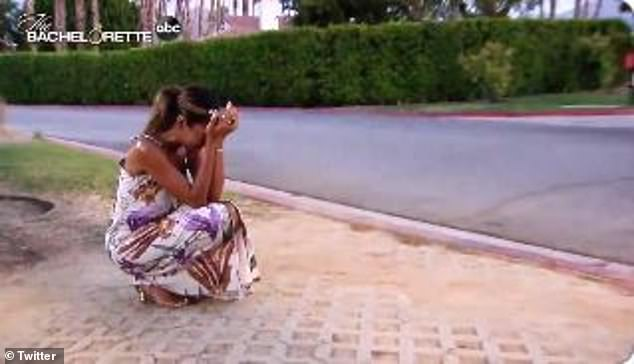 Heartbroken: The sobbing reality star crouched to the floor
