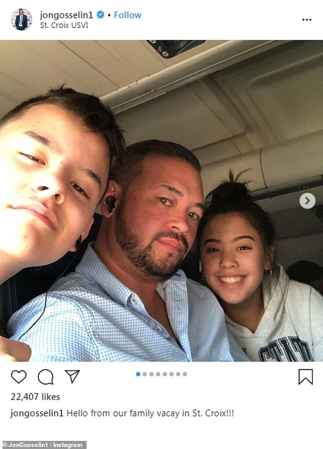 Custody: 'I think the kids need to talk,' the Jon & Kate Plus 8 alum told Mehmet Oz on his talk show. Seen here with Collin and Hannah, both of whom live with him