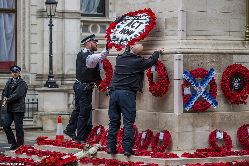 Metropolitan Police later swooped in and removed the protest from the monument in Whitehall