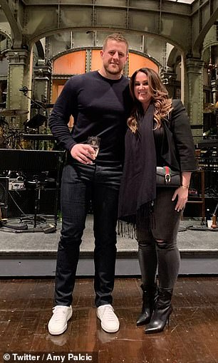 Palcic (pictured with JJ Watt on the set of Saturday Night Live), the outgoing Texans' VP of communications, was no longer a 'cultural fit' within the team, sources told ESPN