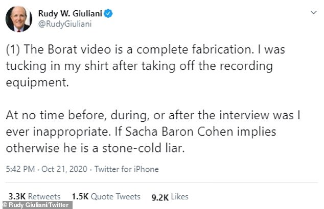 After the Giuliani scene was leaked online ahead of the movie's release, the former mayor came out to insist he was not doing anything inappropriate and was merely tucking in his shirt