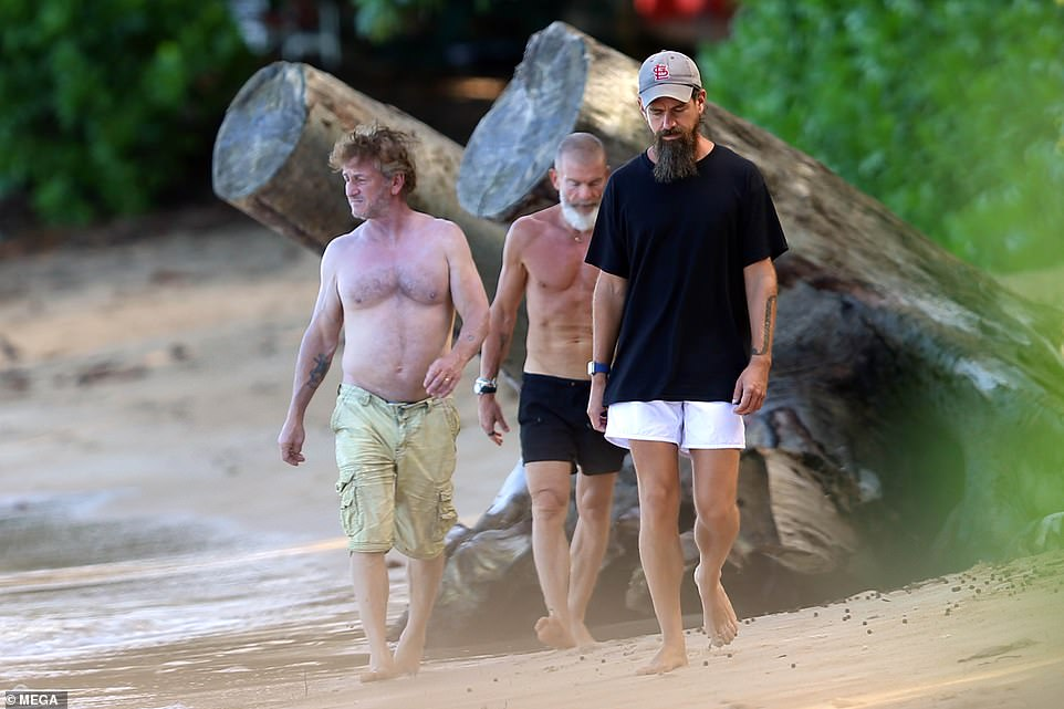 The three men all opted to wear shorts for their day on the beach with Penn choosing to go shirtless. Dorsey covered up in a t t-shirt and hat. In April last year Dorsey revealed he manages stress through a strict diet and exercise regimen as well as quirky lifestyle habits like hours of meditation each day