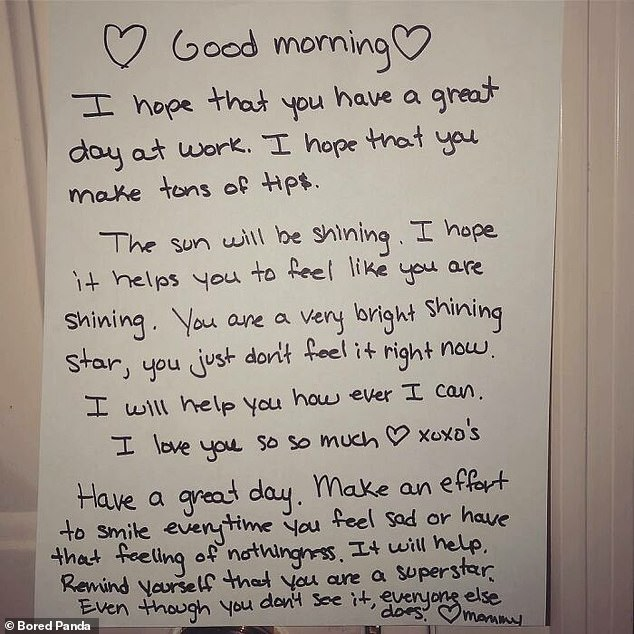 One woman revealed her mother wrote her an adorable pep talk after she admitted she was depressed