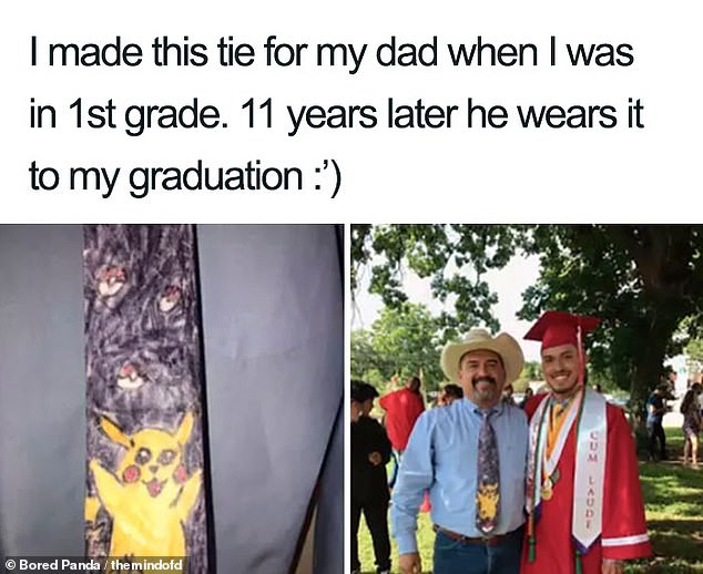 A man from Austin, Texas, revealed how his father wore a tie that he had made for him when he was four to his high school graduation