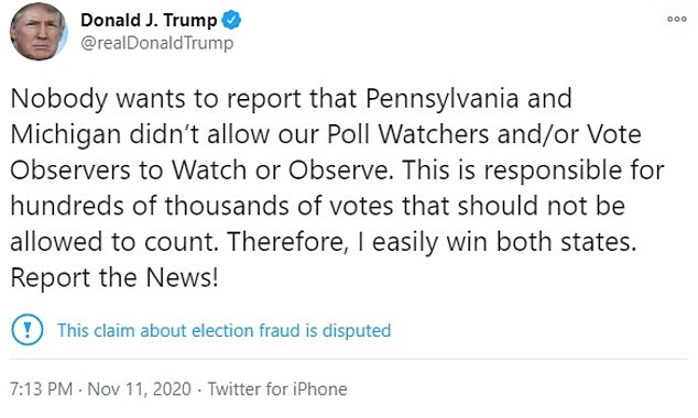 President Trump claimed he 'easily win' Pennsylvania due to unsupported allegations of fraud