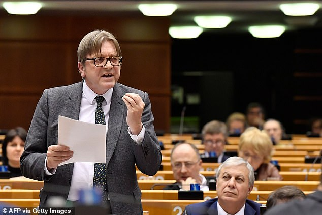 MEP Guy Verhofstadt (pictured speaking) led the fanfare by hitting out at 'unelected bureaucrats, unrealistic ideologues' on his Twitter page