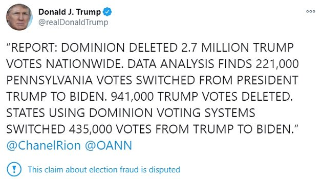 President Trump forwarded a 'disputed' claim about election fraud by retweeting a conspiracy theory about voting machines deleting 2.7 million Trump votes
