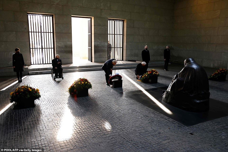 Charles knelt to lay his wreath alongside the German Defence Minister Annegret Kramp-Karrenbauer, President of the Bundestag Wolfgang Schaeuble, German President Frank-Walter Steinmeier, President of the German Federal Council Reiner Haseloff and head judge of Germany's constitutional court Stephan Harbarth
