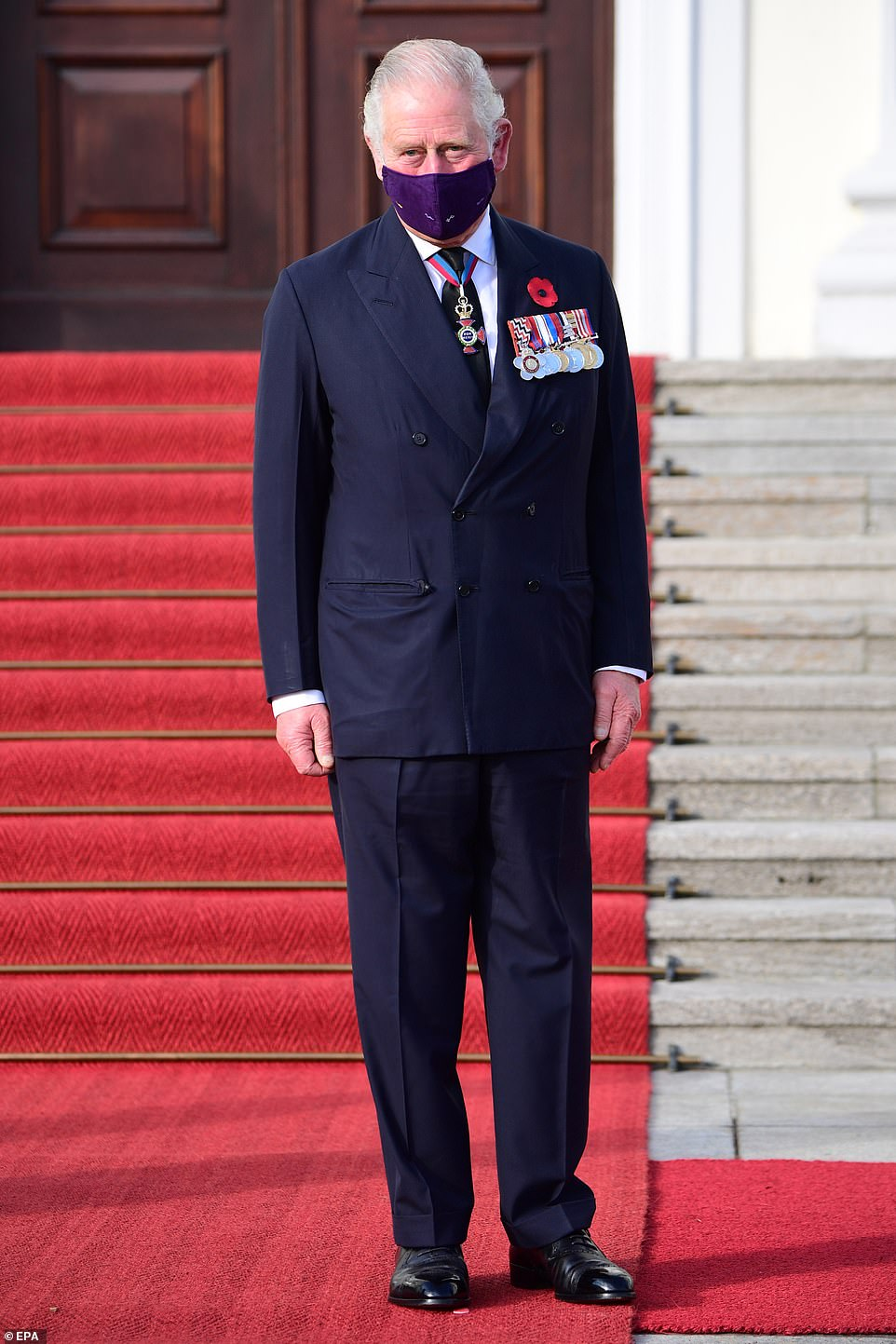 Charles, who celebrated his 72nd birthday yesterday, wore his military medals for the sombre occasion.The event aims to reflect the importance of British-German ties amid Brexit tensions