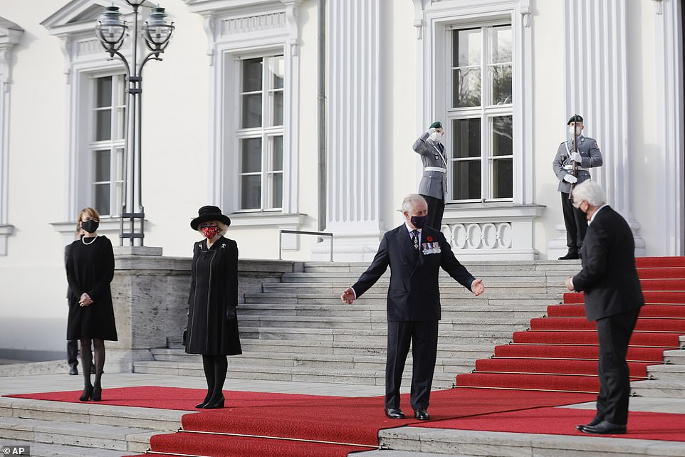 The royal couple were officially greeted by the country's president Frank-Walter Steinmeier and his wife Elke Budenbender at Berlin's Bellevue Palace
