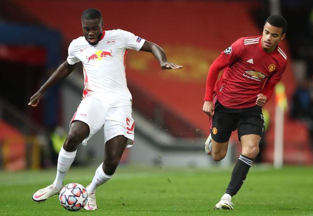 The RB Leipzig defender in action against Man Utd last month