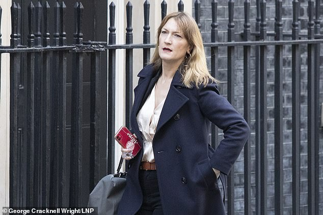The former BBC and ITV journalist Allegra Stratton (pictured leaving Downing Street) has been appointed the new No. 10 press chief