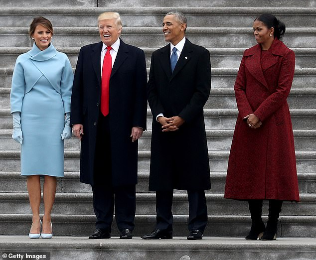 Obama said he isn't sure what will happen when inauguration day arrives in January but said he is hopeful that Trump will follow tradition and welcome Biden just as he was welcomed by Obama in 2017 (pictured)