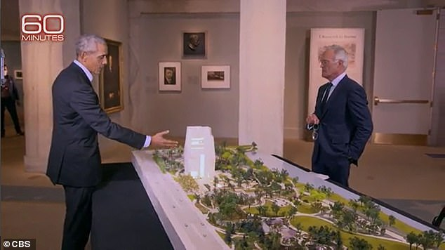 Obama also gave Pelley a sneak peak at the presidential center he's building on Chicago's South Side - where he and Michelle met