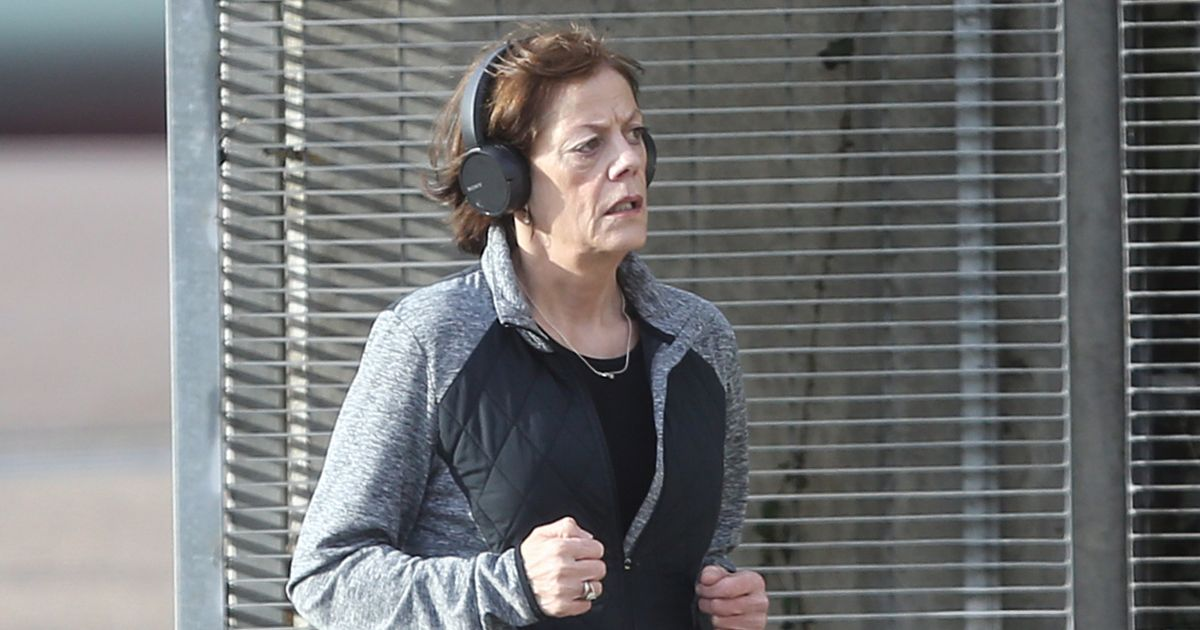 Elaine Lordan looks healthy as she jogs 2 years after glugging wine in street