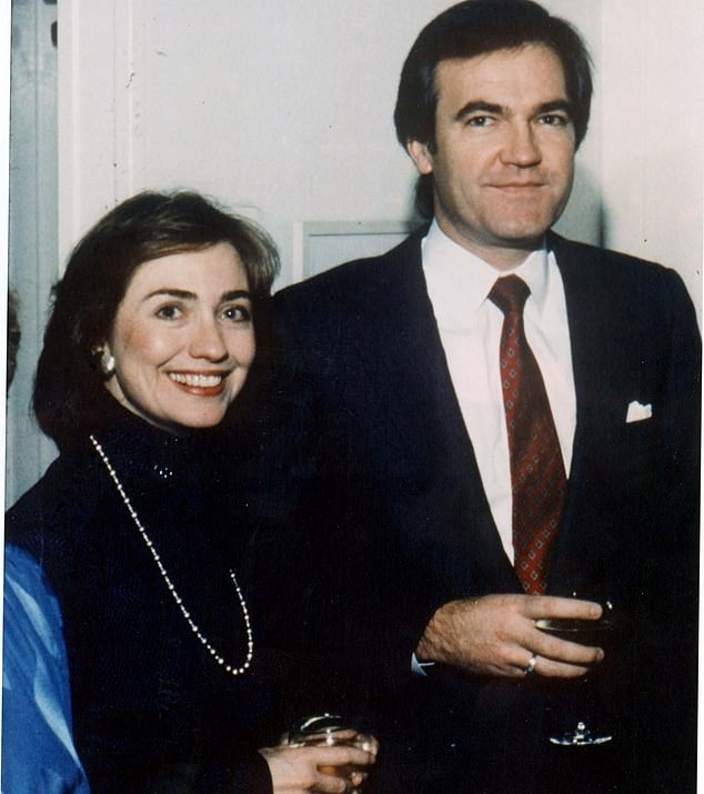 Deputy White House counsel Vince Foster (pictured together) also followed Hillary to Washington. He had worked at the Rose Law Firm, hired Hillary at the Firm and they were rumored to have had a long affair. He was brought into all things dark with Hillary but that didn't stop her from often berating him viciously and giving him 'a foul-mouthed verbal flogging', Tripp writes