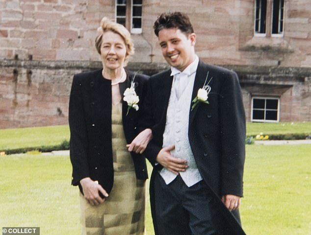 Seymour Platt, 49, (right),Keeler's son by her brief marriage to businessman Anthony Platt in the early Seventies, pictured with his mother on his wedding day in 2002