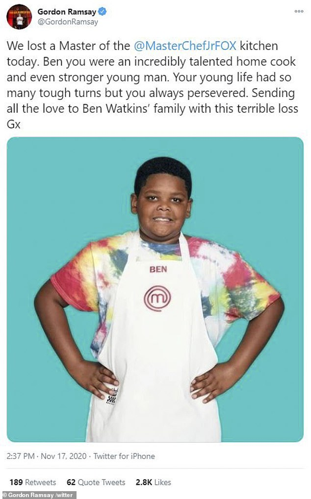 Gordon Ramsay took to Twitter Tuesday to pay tribute to the former MasterChef Junior contestant