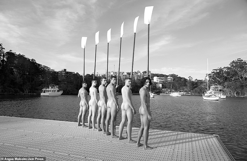 Colour pictures are juxtaposed next to stylish black and white snaps of the men, like this one which sees them posing with oars