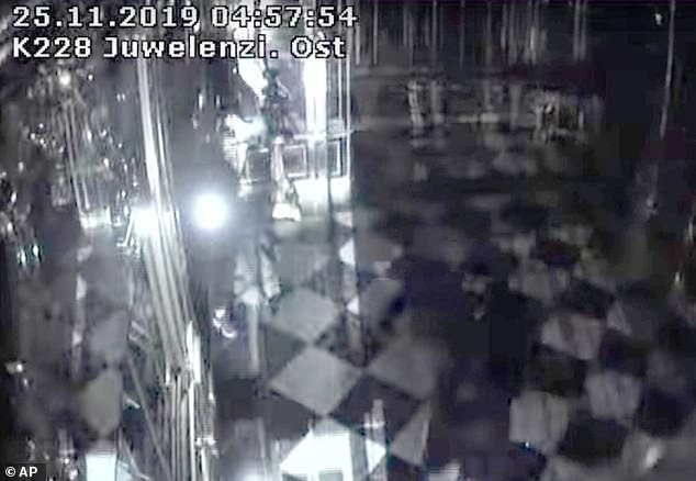 Heist: CCTV footage shows a burglar smashing a display case in Dresden's Green Vault during the art theft in one of Germany's oldest museums last November