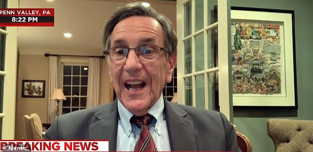 'The man who was very angry with me, I forgot his name.': Mark Aronchick, who appeared for the Pennsylvania counties including Allegheny and Philadelphia, mocked Giuliani and later told MSNBC: 'You can say what you like at Four Seasons Total Landscaping'