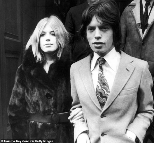 Singer Mariann Faithful with Rolling Stones star Mick Jagger outside Malborough Street court in 1969