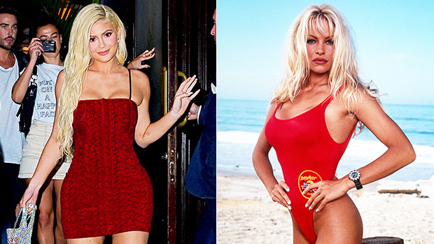 Kylie Jenner Channels Pamela Anderson's 'Baywatch' Look With Blonde Hair & Red Bikini — See Pics