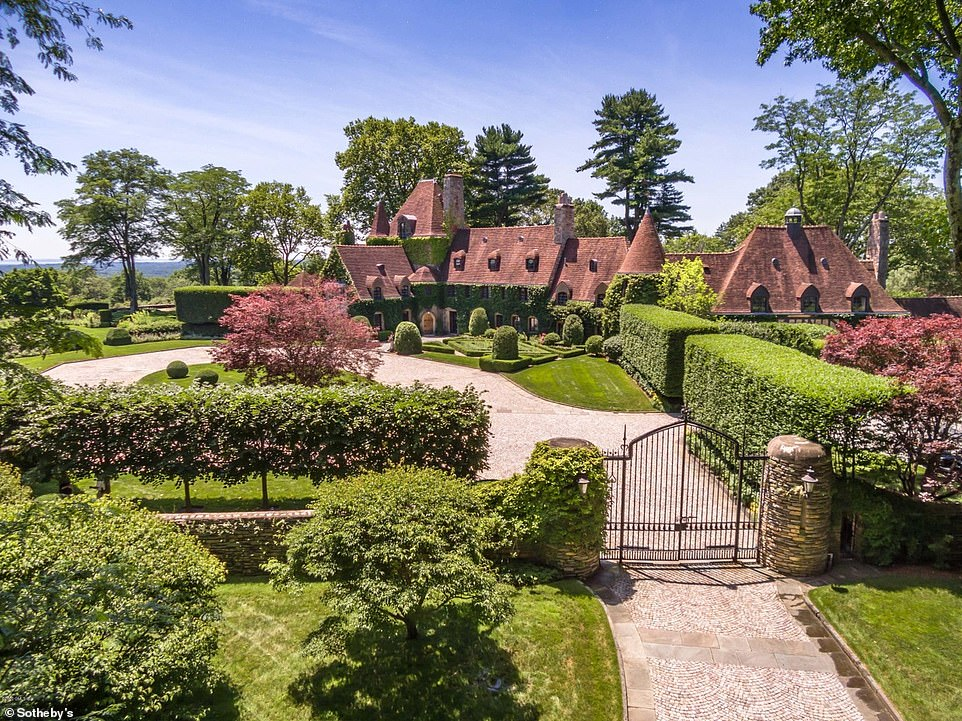 Stunning: The main home on the property dates back to 1939, and it features lovely French turrets that give it a palatial feel