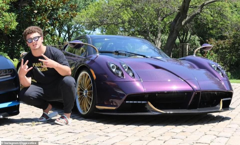 The teenager, who has 84,000 subscribers on his GG Exotics YouTube page, is pictured above with the now-totaledmulti-million dollar purple hypercar