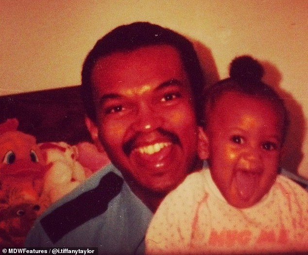 Looking back: Tiffany, pictured with her father as a child, developed the rare skin condition when she was just 14 years old